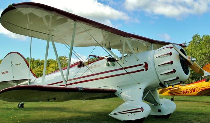 Biplane Flight Over Acadia