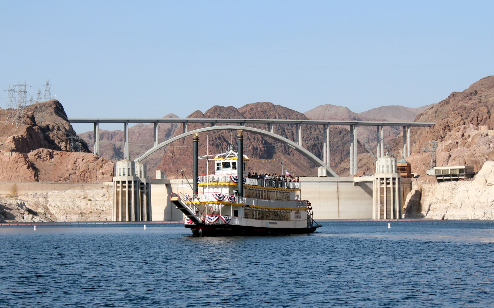 Desert Princess In Front Of Hoover Dam And Bridge